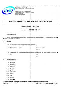 CUESTIONARIO DE APLICACION PALETIZADOR
