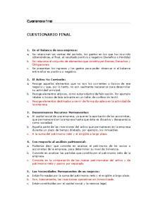 CUESTIONARIO FINAL. Cuestionario Final