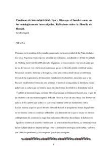 Cuestiones de intersubjetividad. Ego y Alter-ego: el hombre como un Ser ontologicamente intersubjetivo. Reflexiones sobre la filosofía de Husserl