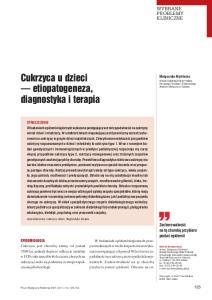 Cukrzyca u dzieci etiopatogeneza, diagnostyka i terapia
