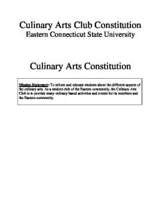 Culinary Arts Club Constitution Eastern Connecticut State University. Culinary Arts Constitution