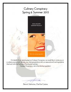 Culinary Conspiracy Spring & Summer 2013