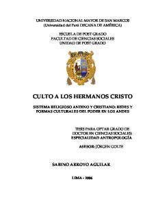 CULTO A LOS HERMANOS CRISTO