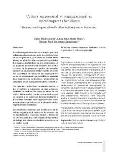 Cultura empresarial y organizacional en microempresas familiares
