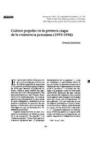 Cultura popular en la primera etapa de la resistencia peronista ( )