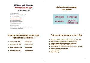 Cultural Anthropology -vier Felder: Cultural Anthropology in den USA. Cultural Anthropology in den USA vier Namen & Themen: : physische Anthropologie