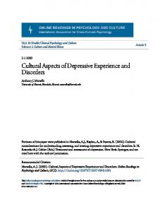 Cultural Aspects of Depressive Experience and Disorders