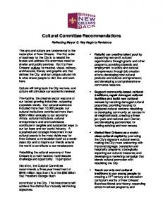 Cultural Committee Recommendations