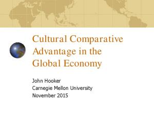 Cultural Comparative Advantage in the Global Economy. John Hooker Carnegie Mellon University November 2015