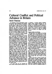 Cultural Conflict and Political Advance in Britain David Triesman