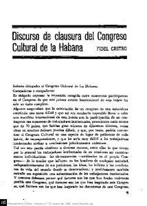 Cultural de la Habana FIDEL CASTRO