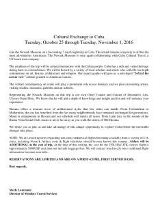 Cultural Exchange to Cuba Tuesday, October 25 through Tuesday, November 1, 2016
