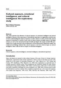 Cultural exposure, emotional intelligence, and cultural intelligence: An exploratory study