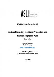 Cultural Identity, Heritage Protection and Human Rights In Asia