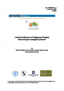 Cultural indicators of Indigenous Peoples' food and agro-ecological systems*