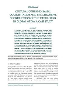 CULTURAL OTHERING, BANAL OCCIDENTALISM AND THE DISCURSIVE CONSTRUCTION OF THE GREEK CRISIS IN GLOBAL MEDIA: A CASE STUDY