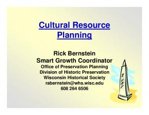 Cultural Resource Planning