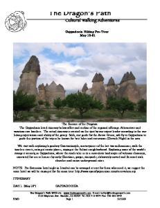 Cultural Walking Adventures. Cappadocia Hiking Pre-Tour May 18-21