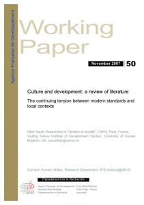 Culture and development: a review of literature