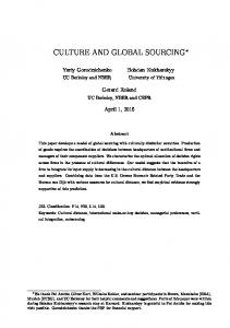 CULTURE AND GLOBAL SOURCING
