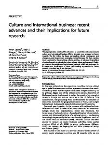 Culture and international business: recent advances and their implications for future research