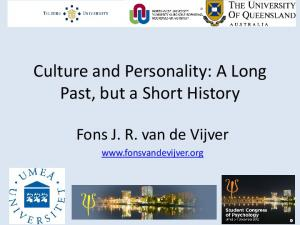 Culture and Personality: A Long Past, but a Short History