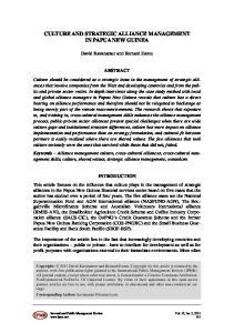 CULTURE AND STRATEGIC ALLIANCE MANAGEMENT IN PAPUA NEW GUINEA