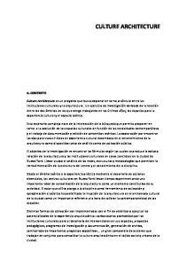 CULTURE ARCHITECTURE A. CONTEXTO