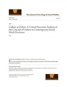 Culture as Deficit: A Critical Discourse Analysis of the Concept of Culture in Contemporary Social Work Discourse