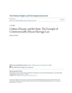 Culture, Dissent, and the State: The Example of Commonwealth African Marriage Law