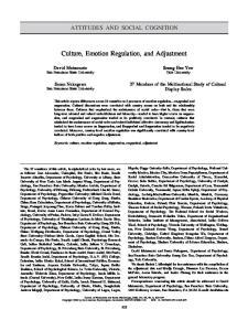 Culture, Emotion Regulation, and Adjustment