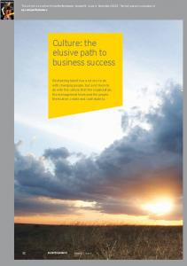 Culture: the elusive path to business success