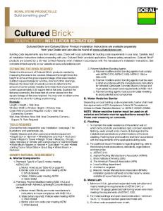 Cultured Brick. manufacturer s installation instructions. Build something great