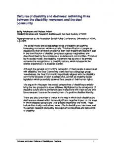 Cultures of disability and deafness: rethinking links between the disability movement and the deaf community