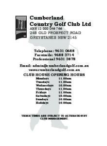 Cumberland Country Golf Club Ltd