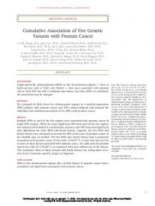 Cumulative Association of Five Genetic Variants with Prostate Cancer