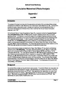 Cumulative Watershed Effects Analysis. Appendix I