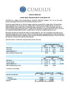 CUMULUS MEDIA INC. Cumulus Reports Operating Results for Second Quarter 2016