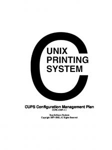 CUPS Configuration Management Plan CUPS CMP 1.1