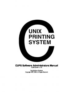 CUPS Software Administrators Manual CUPS SAM