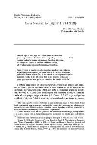 Cura brevis (Hor. Ep ) 1