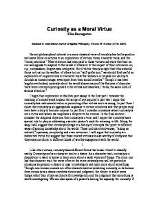Curiosity as a Moral Virtue Elias Baumgarten