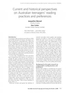 Current and historical perspectives on Australian teenagers reading practices and preferences