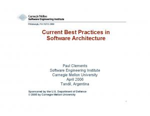 Current Best Practices in Software Architecture