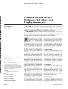 Current Concepts in Knee Replacement: Features and Imaging Assessment