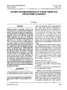 Current conceptualizations of mental health and mental health promotion