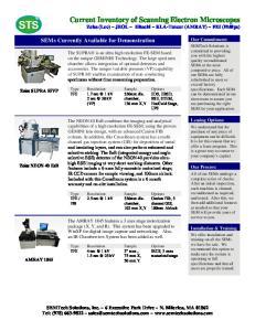 Current Inventory of Scanning Electron Microscopes Zeiss (Leo) ~ JEOL ~ Hitachi ~ KLA-Tencor (AMRAY) ~ FEI (Philips)
