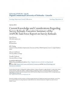 Current Knowledge and Considerations Regarding Survey Refusals: Executive Summary of the AAPOR Task Force Report on Survey Refusals