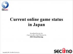 Current online game status in Japan