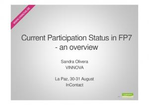 Current Participation Status in FP7 - an overview